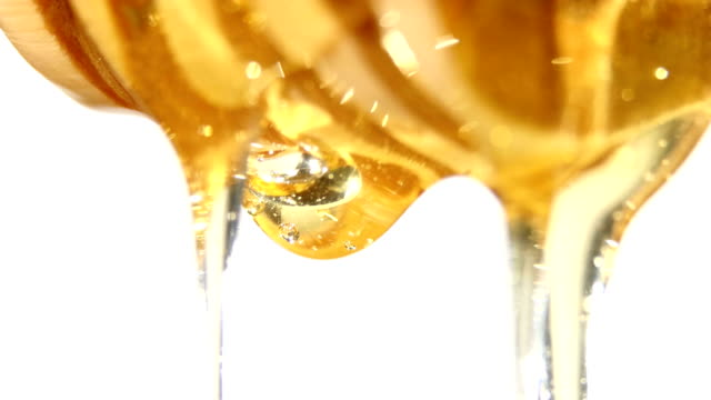 Honey dripping from a wooden spoon, one drop, on white video