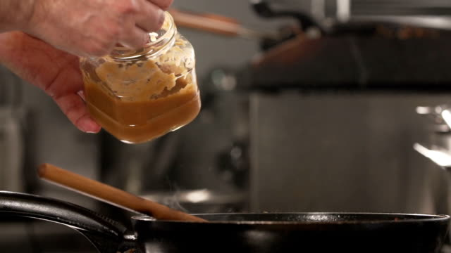 Honey spices in cooking - slow mo video