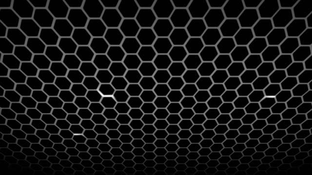 vídeos de stock e filmes b-roll de honeycomb pattern with lighting effect over the dark background 4k 3840 x 2160 - honeycomb
