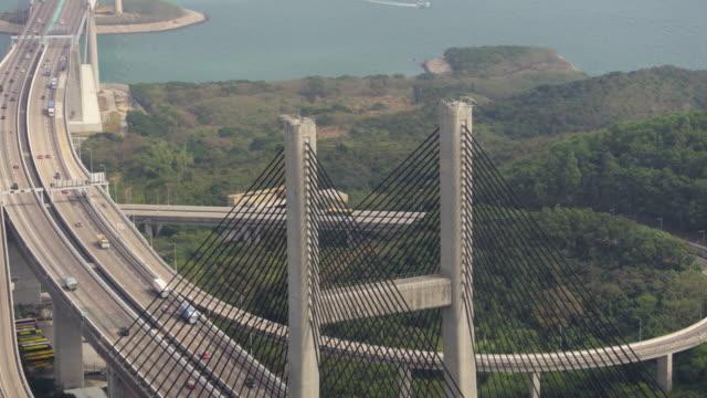 Hong Kong Aerial v164 Closeup birdseye view flying low around Kap Shui Mun Bridge column Febuary 2017 suspension bridge stock videos & royalty-free footage