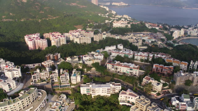 hong kong aerial v214 birdseye flying low over chung hom kok area panning with island views - ocean front properties stock videos & royalty-free footage