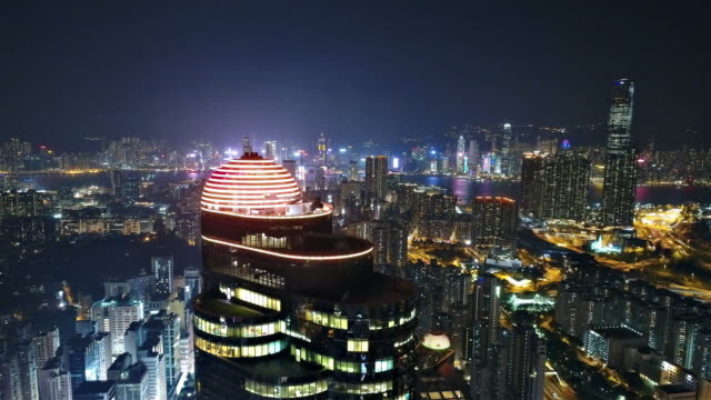 hong kong aerial view from kowloon side - hong kong video stock e b–roll