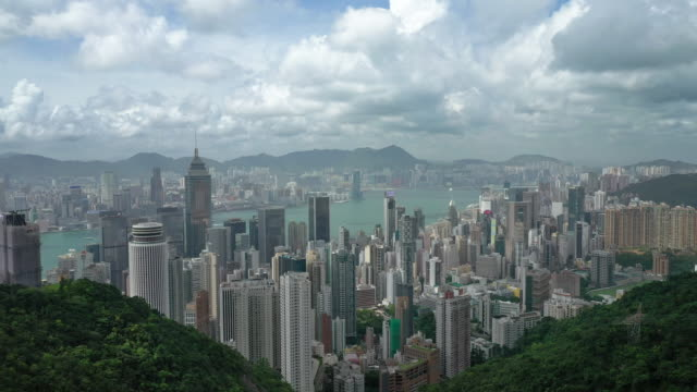 Hong Kong aerial view landscape in real time