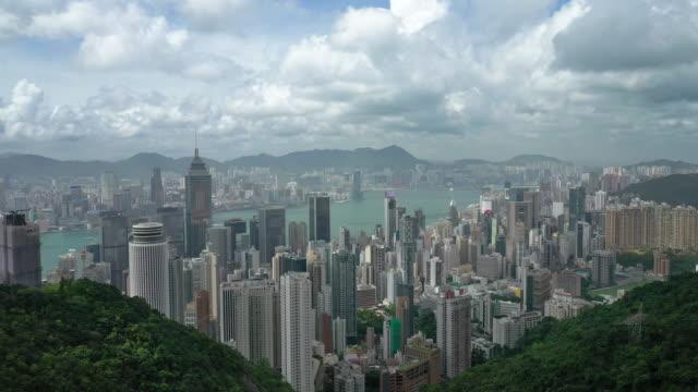 hong kong luftbildlandschaft in echtzeit - blickwinkel der aufnahme stock-videos und b-roll-filmmaterial