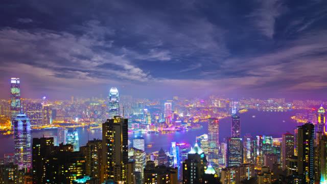 hong kong aerial view - hong kong video stock e b–roll
