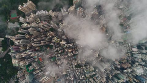 vidéos et rushes de antennes de hong kong - paysage urbain