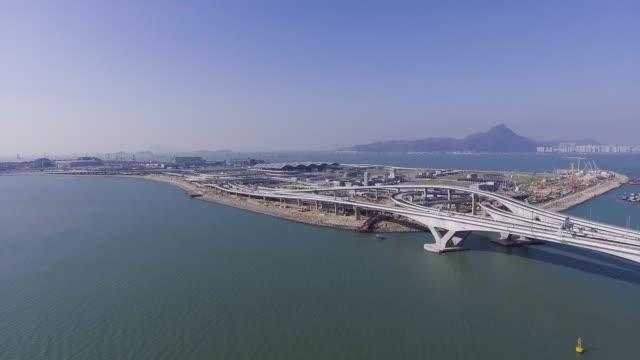 hong kong airport 3th runway - zhuhai video stock e b–roll