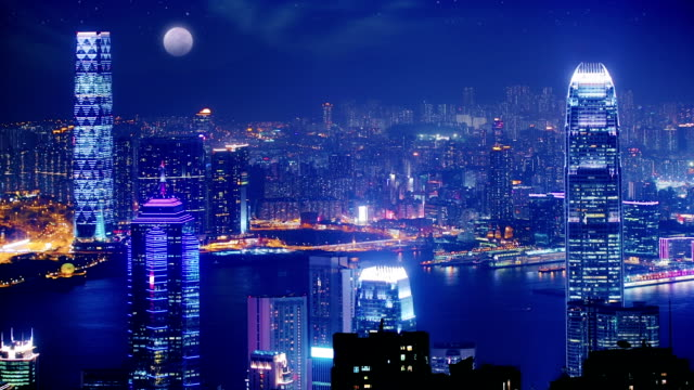 hong kong at night. - future city bildbanksvideor och videomaterial från bakom kulisserna