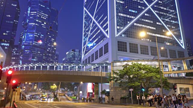 Hongkong. Geschäftsviertel. Financail Gebäude. langweilig. verkehr. – Video