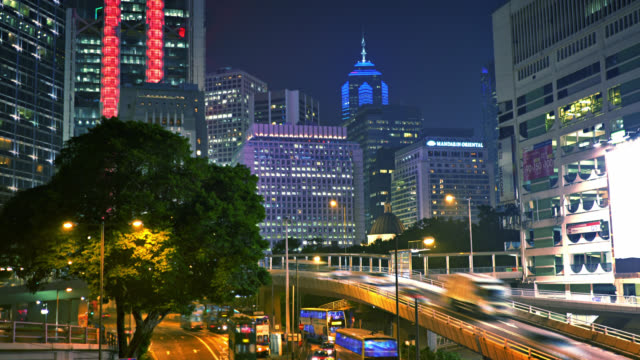 Hong Kong. Business Downtown. Traffic. Night. Office building
