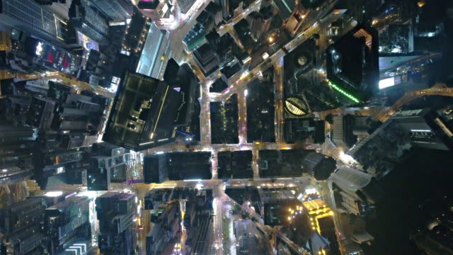 Hong Kong central district straight down from a drone
