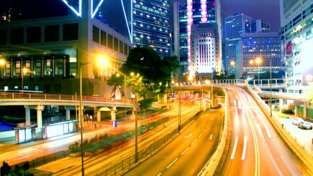 time lapse-гонконг центральной трафика - центральный район стоковые видео и кадры b-roll