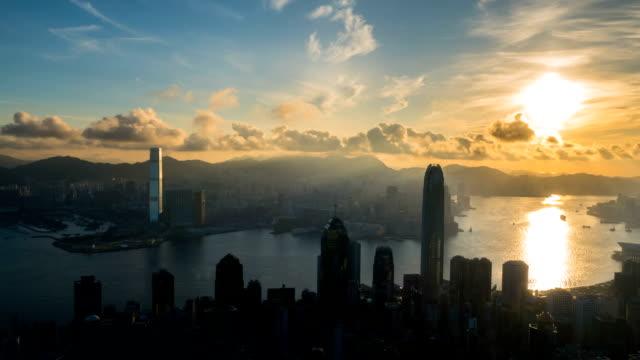 Hong Kong city, Business Center. Timelapse sunset time video