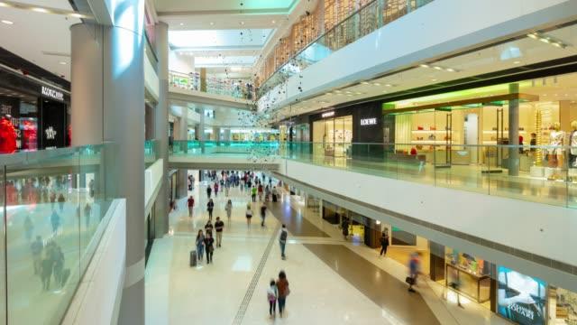 hong kong city famous mall interior hall panorama 4k timelapse - vídeo