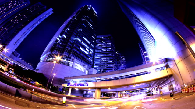 Hong Kong City Night Timelapse. 4K Wide Shot. video