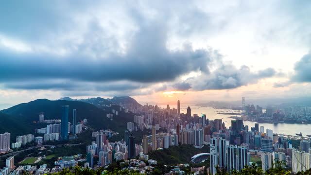 Hong Kong Stadt mit Sonnenstrahl – Video