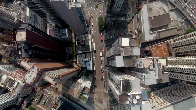 hong kong down town top view - parte superiore video stock e b–roll