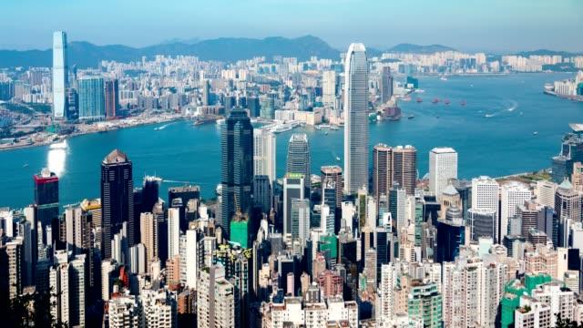 hong kong famous view - timelapse - центральный район стоковые видео и кадры b-roll