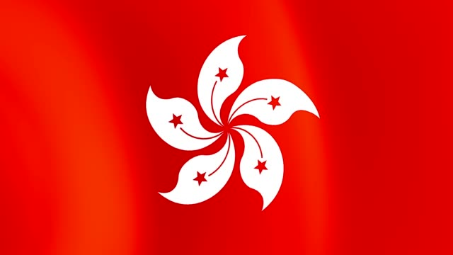 hong kong flag closeup 1080p full hd 1920x1080 footage video waving in wind - campionato video stock e b–roll