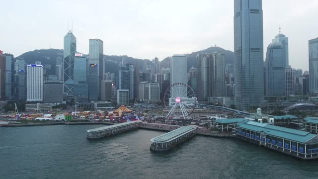 stockvideo's en b-roll-footage met luchtfoto uitzicht op de haven hong kong - hongkong