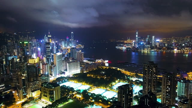 Hong Kong Island Victoria harbour and Kowloon aerial video