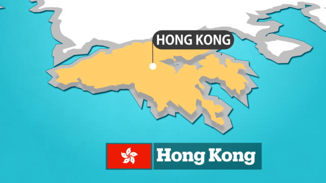 Hong Kong Map with Flag map with flag china east asia stock videos & royalty-free footage