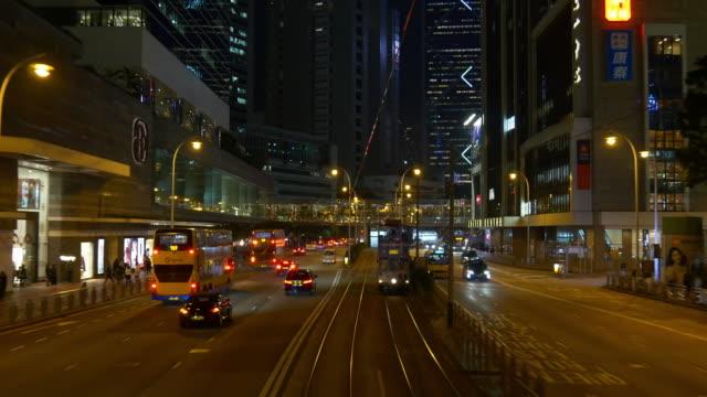 hong kong night illumination tram traffic road trip street panorama 4k china video