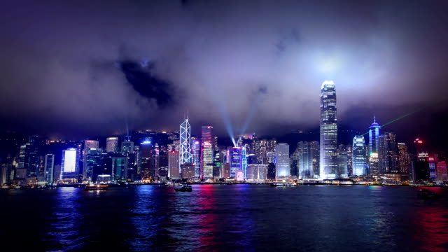 Hong Kong night scene during 'A Symphony of Lights' show video
