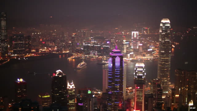 Hong Kong night scene, panning from Victoria Peak (HD 1080) video