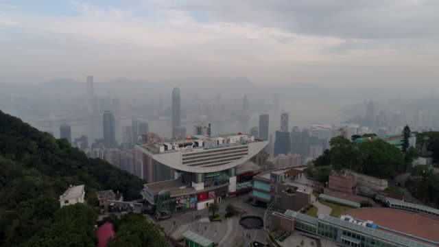 Hong kong pic vue point tour construction matin aerial panorama 4k Chine - Vidéo