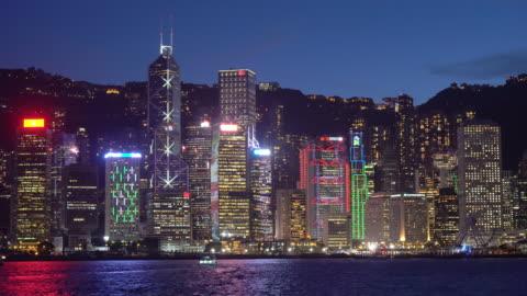stockvideo's en b-roll-footage met hong kong skyline in de nacht - gewone snelheid