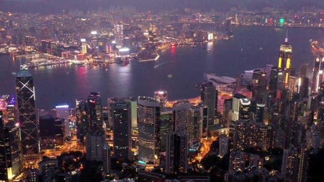 香港的天際線夜景 - 航拍 個影片檔及 b 捲影像