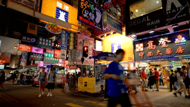 Hong Kong street scene with neon signs at night video