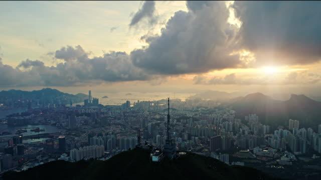 hong kong sunrise from a drone - hong kong video stock e b–roll