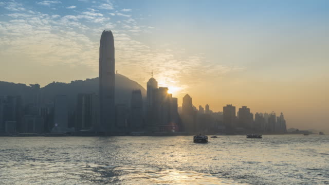 Hong Kong Victoria harbor sunset twilight video