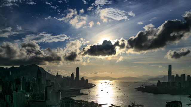 Hong Kong Victoria Harbour Sunset video