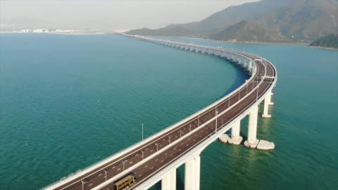 Hong Kong–Zhuhai–Macau Bridge Hong Kong–Zhuhai–Macau Bridge bridge built structure stock videos & royalty-free footage