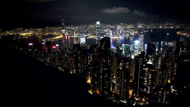 Hongkong Skyline at night-from Victoria Peak video