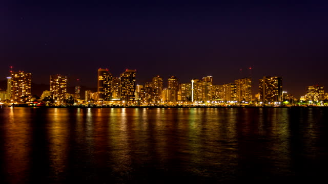 Honolulu downtown at Night Time Lapse