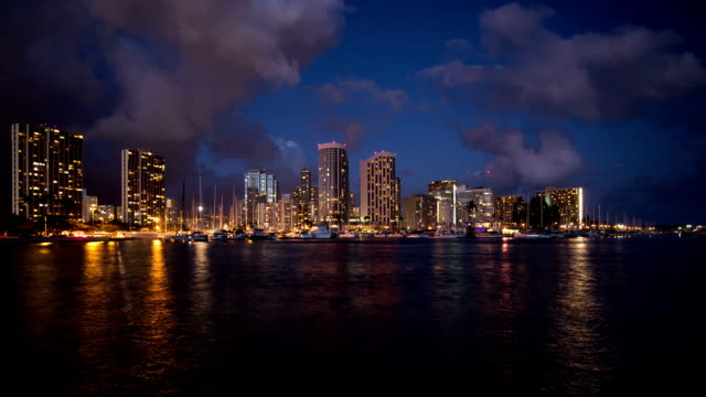 Honolulu Downtown At Night With Waterfront Time Lapse Hawaii Video