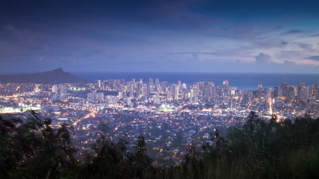 Honolulu Sunset A panoramic time lapse sunset view of the Honolulu skyline. 4K resolution. oahu stock videos & royalty-free footage
