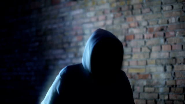 Hooded faceless man shadow, mysterious demon, scary criminal, creepy nightmare
