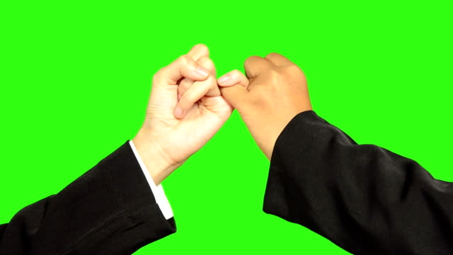 Hook Each Other's Little Finger With Green Screen Background video