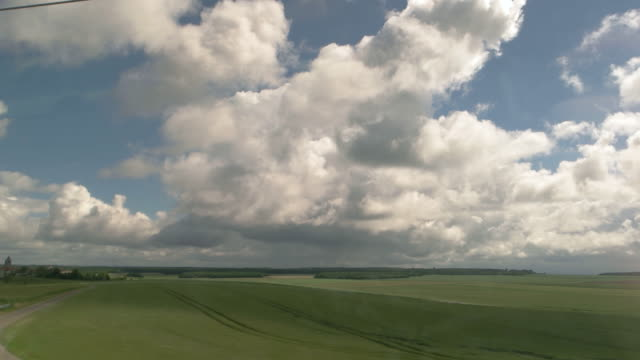 Horizon behind train window. video