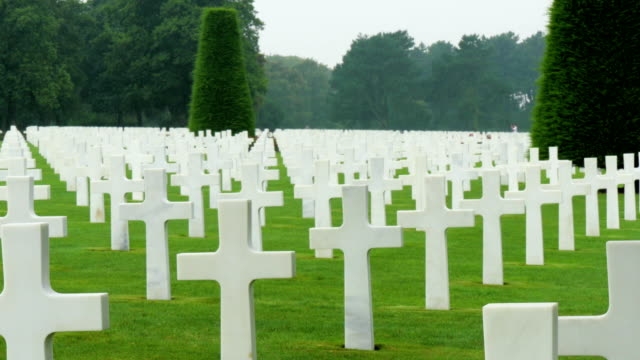 Horizon view of the cemetery with all the white crosses video