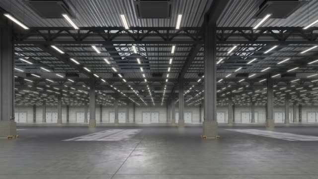 Horizontal camera move in empty warehouse room. Looped animation.