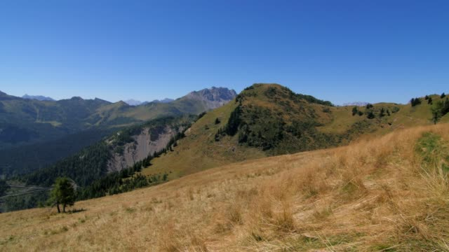 Horizontal pan of a beautiful mountian panorama in summer video