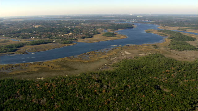 horlbeck creek - Aerial View - South Carolina,  Charleston County,  United States video