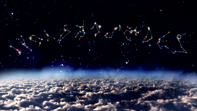 vídeos de stock e filmes b-roll de símbolo do zodíaco horóscopo no espaço - astrologia