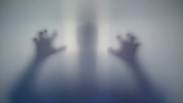 Horrible silhouette, scary supernatural alien, strange creature video